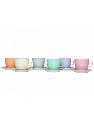 Cappucino tas + ondertas 6st pastelkleur