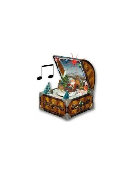 Kerstman in koffer met licht en muziek