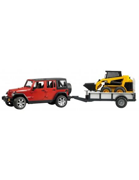 Jeep Wrangler Unlimited Rubicon + trailer en CAT mini wiellader 1:16