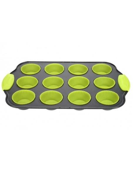 Bakvorm 12 muffins rh metaal + silicone groen