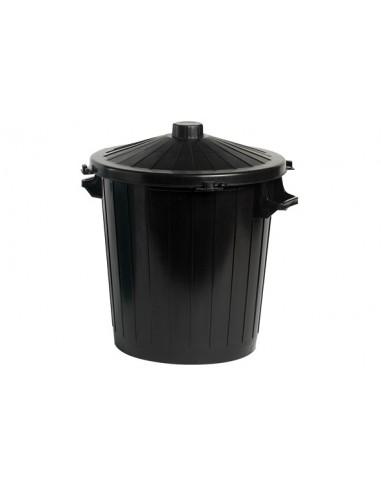 Vuilnisbak + deksel zwart PVC 50L