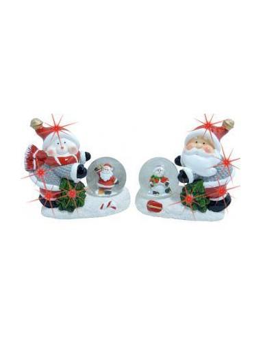 Kerstsneeuwbol met licht  2 ass